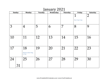Www.Freeprintable.Net Calendar 2021 Printable January 2021 Calendar