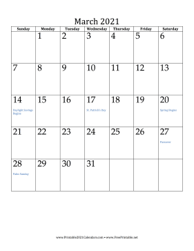Printable March 2021 Calendar Vertical