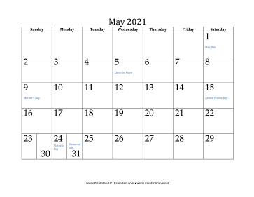 Www.Freeprintable.Net Calendar 2021 Printable May 2021 Calendar