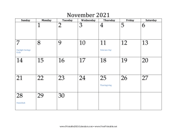 Images of November Month Calendar 2021 Printable